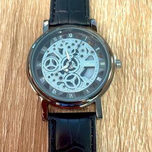 Men's Watch Engraved Design - Black Strap